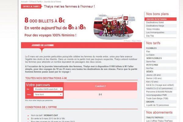 Profiter d'un billet Thalys à 8 euros à l'occasion de la journée de la femme !